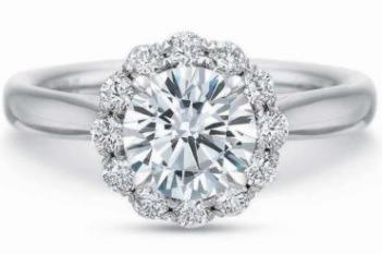 $10,000.00 FlushFit™ Round Halo with Plain Shank Engagement Ring