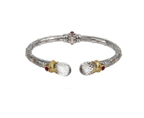 $990.00 Sterling Silver and 18kyg Crystal, Corundum and Garnet Hinged Bracelet