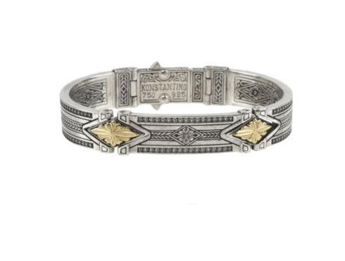 $1,400.00 Mens Sterling Silver and 18kyg Hinged Cuff Bracelet