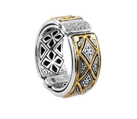 $890.00 Mens Sterling Silver and 18kyg Ring