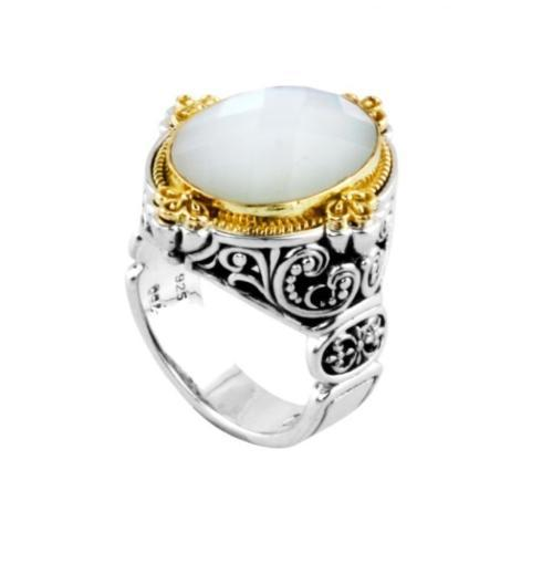 $650.00 Sterling Silver and 18kyg Ring with Mother of Pearl