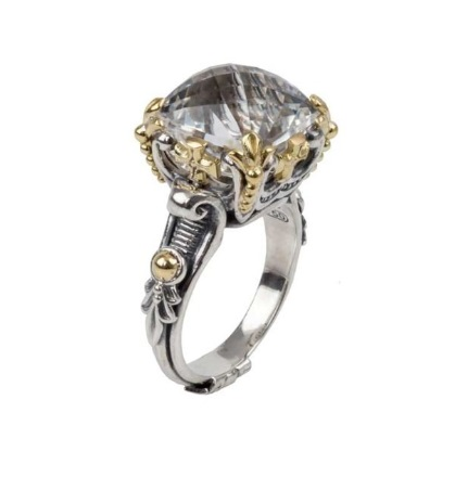 $595.00 Sterling Silver and 18kyg Crystal Ring
