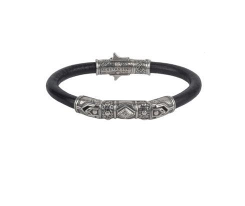 $400.00 Mens Sterling Silver Leather Bracelet