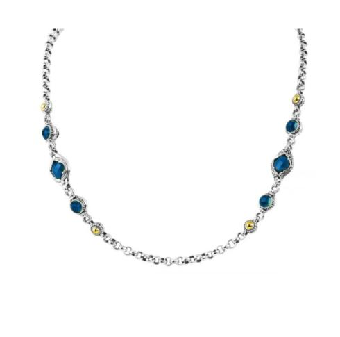 $1,580.00 Sterling Silver and 18kyg London Blue Topaz Station Necklace