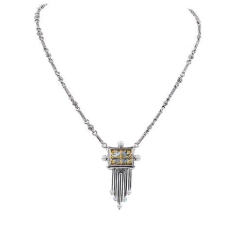 $770.00 Sterling Silver and 18kyg Mother of Pearl Necklace with Pearl Tassel