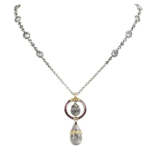 $990.00 Sterling Silver and 18kyg Crystal Double Drop Pendant with Corundum