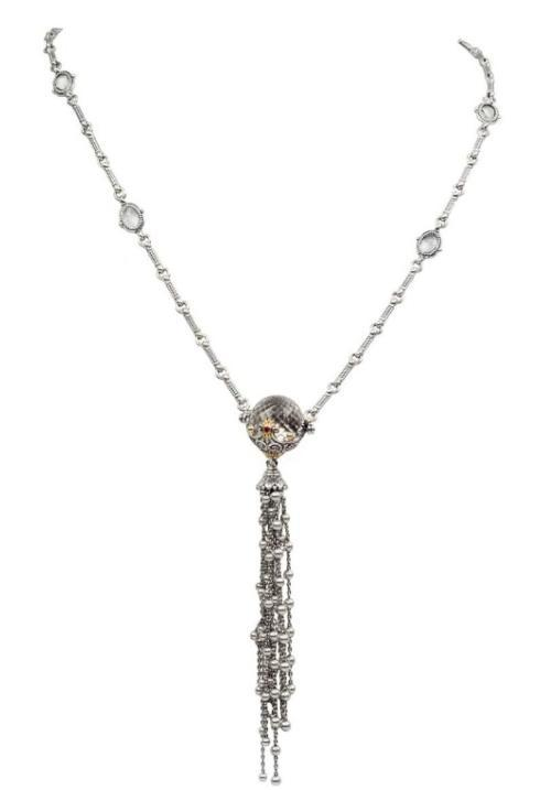 $1,200.00 Sterling Silver and 18kyg Crystal Ball Tassel Necklace