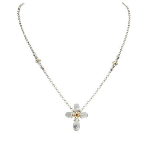 $390.00 Sterling Silver and 18kyg Crystal with Corundum Cross Necklace