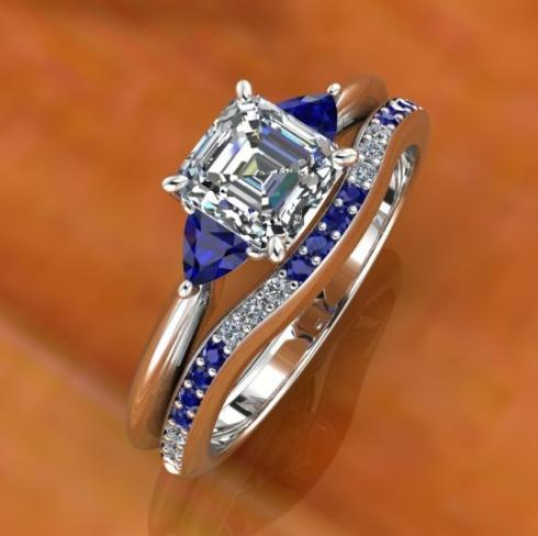 $0.00 Sapphire and Diamond Bridal Set