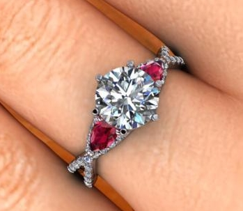 $0.00 Diamond and Ruby Infinity Ring