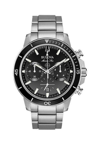 MARINE STAR Stainless Steel with Black Dial/Bezel Chronograph Watch