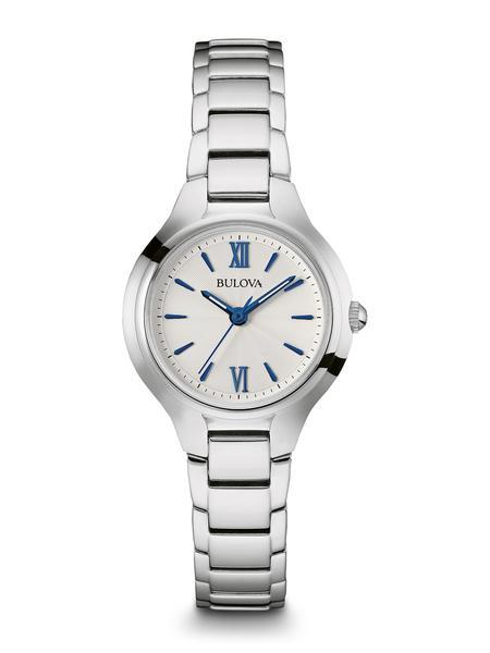 $112.50 Ladies stainless steel watch with blue markers