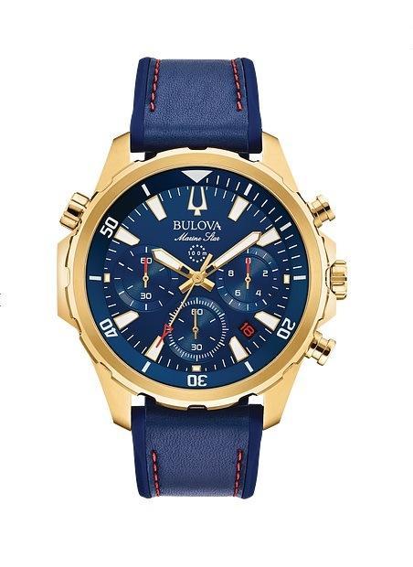 $356.25 MARINE STAR gold-tone blue dial/strap chronograph watch