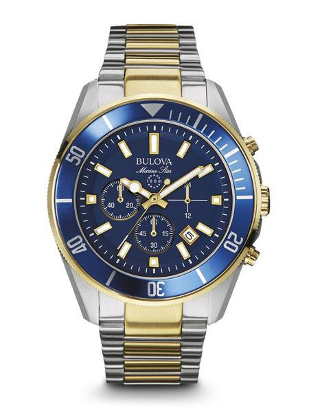 $249.50 Men's two-tone Marine Star Chronograph with Blue dial and bezel