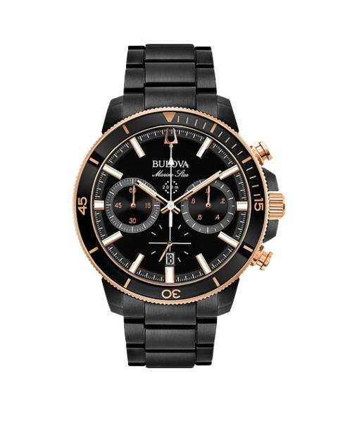 $446.25 MARINE STAR Black Stainless Steel with Rose Accents Chronograph Watch