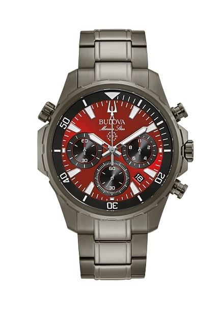 $412.50 MARINE STAR Grey with Red Dial Chronograph Watch