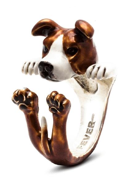 $260.00 ENAMEL HUG RING - AMERICAN STAFFORDSHIRE