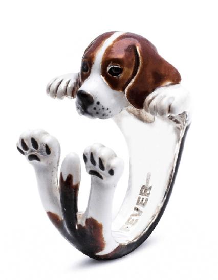 $360.00 ENAMEL HUG RING -BEAGLE