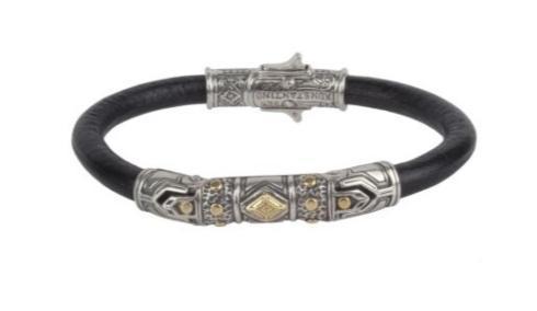 $790.00 Sterling Silver & 18k Gold Leather Bracelet