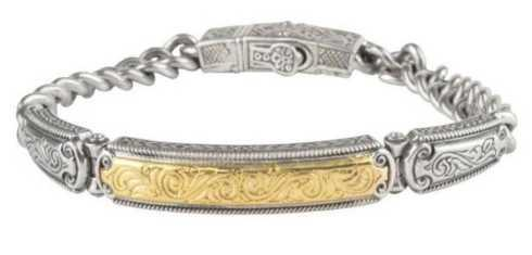Sterling Silver and 18k gold ID Bracelet