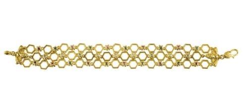 $7,700.00 18k Gold Diamond & Aqua with Pink Sapphire Bracelet