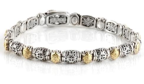 Sterling Silver & 18k Dotted Clasp Bracelet