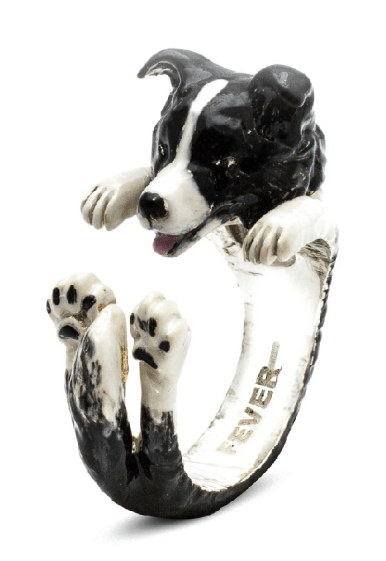 $360.00 ENAMEL HUG RING - BORDER COLLIE