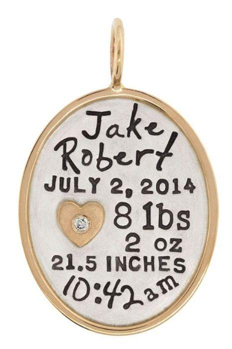 $750.00 Baby Stats Oval Charm