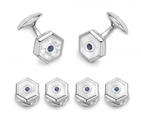 $955.00 Sterling Silver Hexagonal Dress Stud Set – Mother-Of-Pearl & Sapphire
