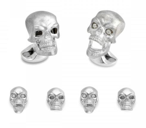 $1,560.00 Sterling Silver Skull Dress Stud Set With Diamond Eyes