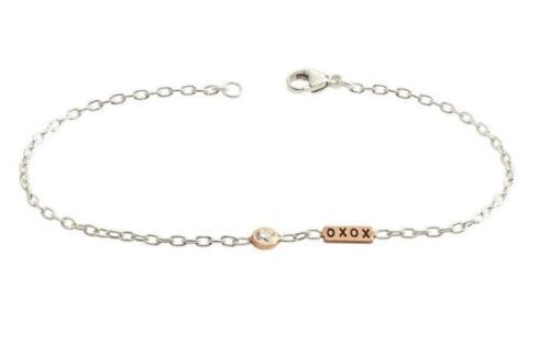 $570.00 Mixed Metal XOXO Diamond Bezel Bracelet
