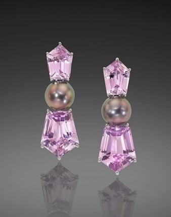 $1.00 Tahitian Pearl and Lavender Kunzite Earrings