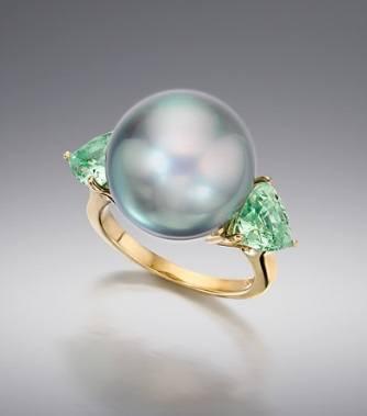 $1.00 Tahitian Pearl and Green Tourmaline Ring