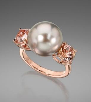 $1.00 Tahitian Pearl and Bi-Color Tourmaline Ring