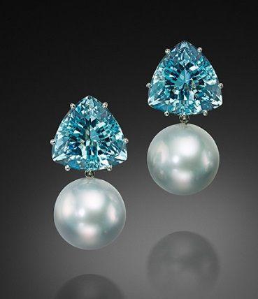 $1.00 Tahitian Pearl and Aquamarine Earrings