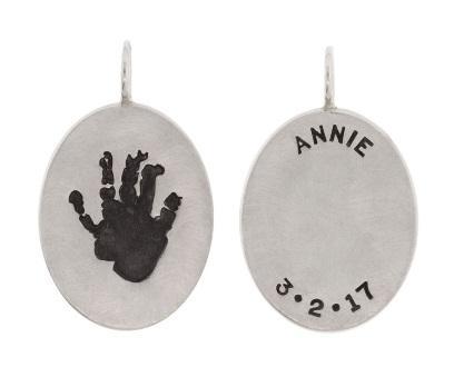$570.00 Child\'s Handprint Oval Charm