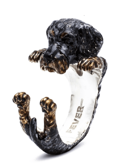 $360.00 ENAMEL HUG RING - DACHSHUND TECKEL