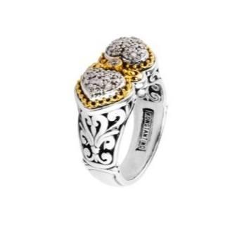 $1,365.00 Sterling Silver & 18k Gold Diamond Ring