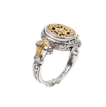 $390.00 Sterling Silver & 18k Gold Ring