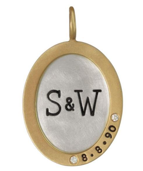 $793.00 Double Initial And Date Oval Charm