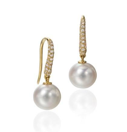 $1.00 Essentials 18ky Pearl Drop Earring with Pave Diamonds