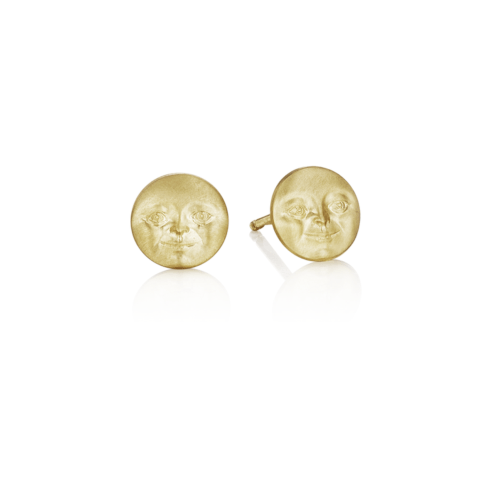 Moonface Stud Earrings (7mm)