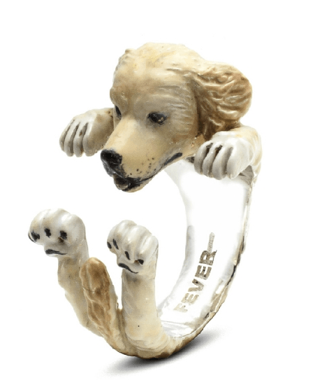 $360.00 ENAMEL HUG RING - GOLDEN RETRIEVER