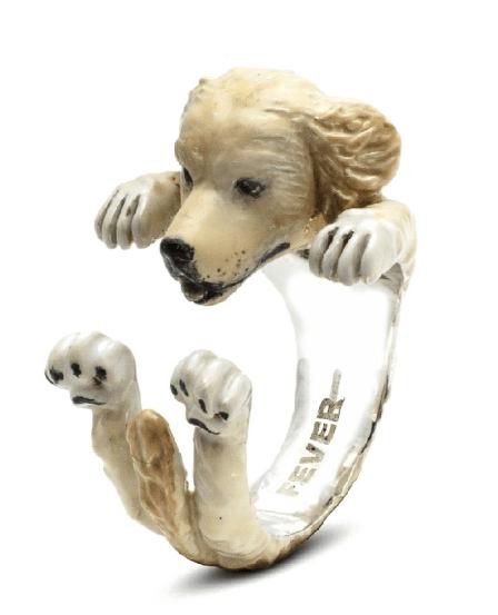 $360.00 ENAMEL HUG RING - LABRADOR RETRIEVER GOLDEN
