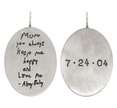 $565.00 Handwritten Message And Date Oval Charm