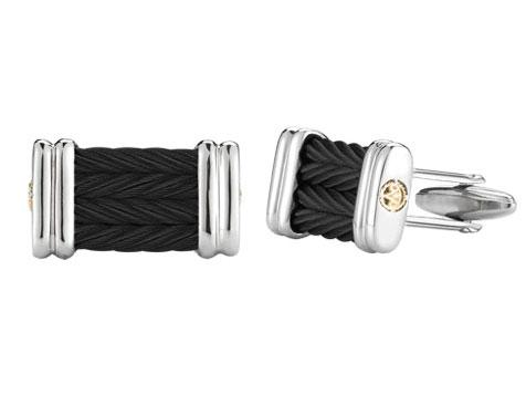 $295.00 18K Yellow Gold, Stainless Steel & Black Stainless Steel Cable 4 Row 3mm Cufflinks