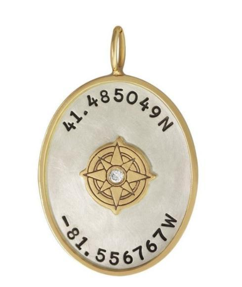$762.00 Latitude And Longitude Oval Charm