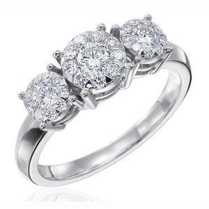 $0.00 Four Prong Three Diamond Ring