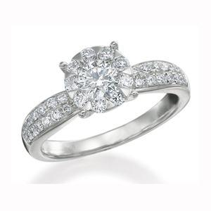 $0.00 Four Prong Diamond Ring with Pave Diamonds