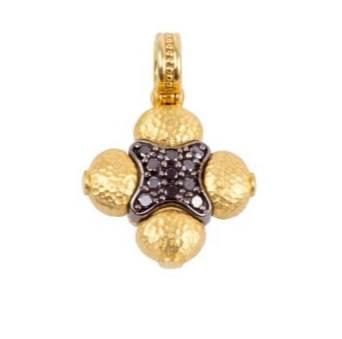 $990.00 Black Diamond Gardenia Cross Pendant